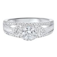 14K White Gold Complete Split Prong Diamond Ring (7/8 Ct. Tw.)