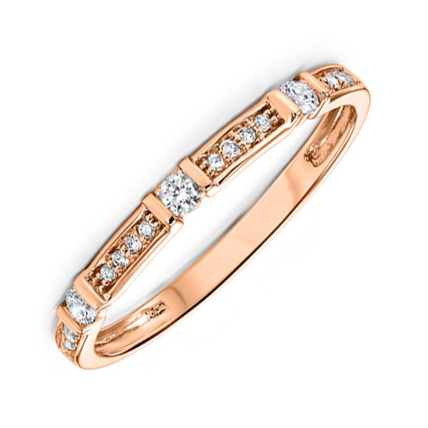 Stackable Dot & Dash Diamond Band In 10K Rose Gold (1/6 Ct. Tw.)
