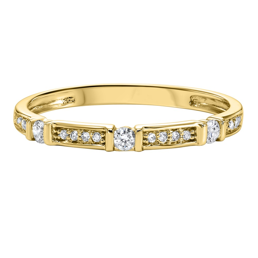 Stackable Dot & Dash Diamond Band In 10K Yellow Gold (1/6 Ct. Tw.)