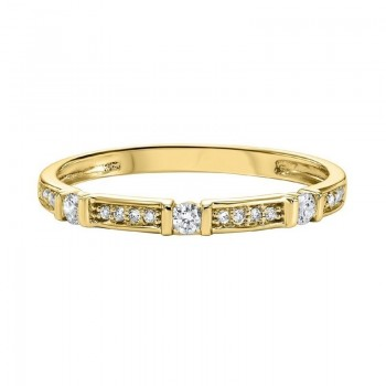 Diamond Solitaire Station Bar Stackable 3/4 Eternity Band In 10k Yellow Gold (1/6 Ctw)