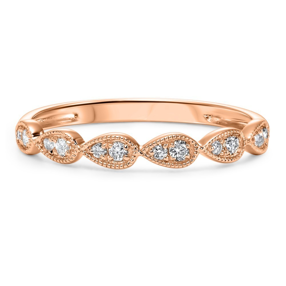Stackable Teardrop Diamond Band In 10K Rose Gold (1/8 Ct. Tw.)