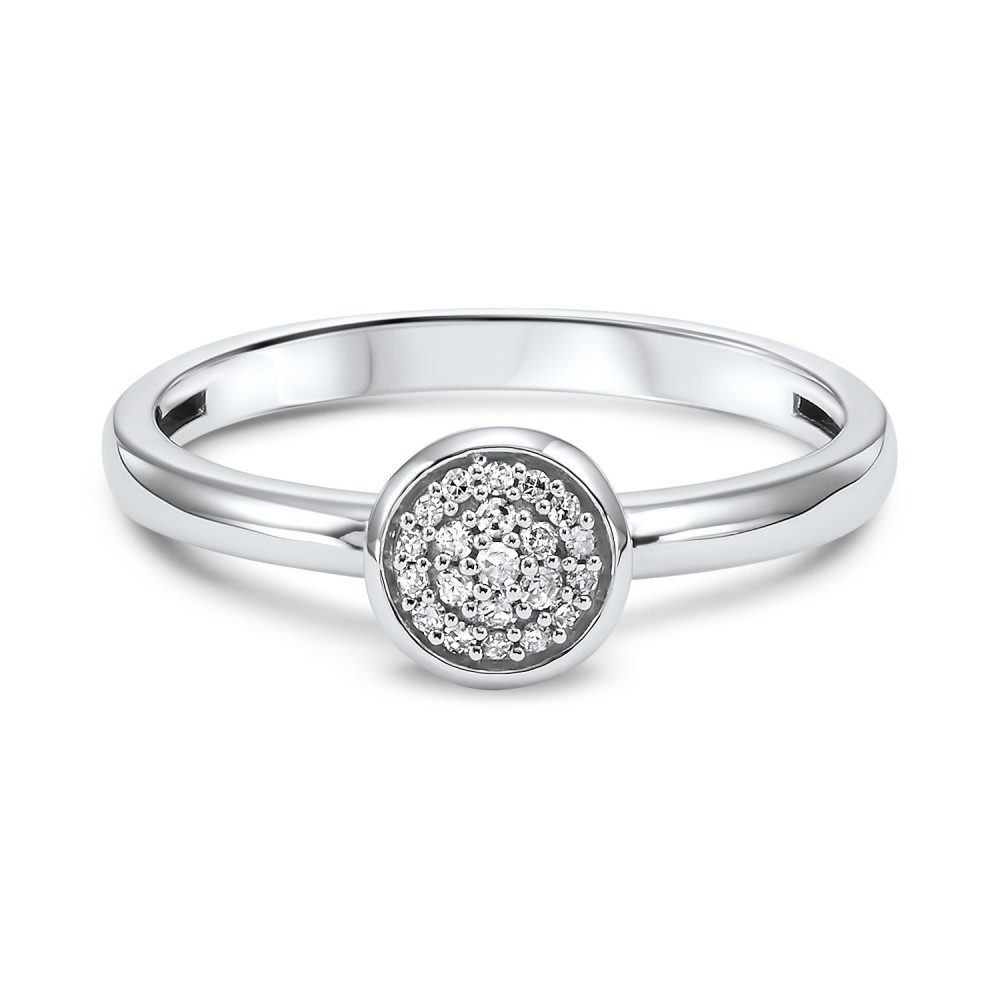 Stackable Circle Diamond Band In 10K White Gold (1/12 Ct. Tw.)