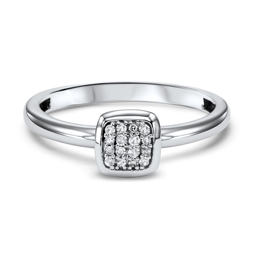 Stackable Cushion Diamond Band In 10K White Gold (1/12 Ct. Tw.)