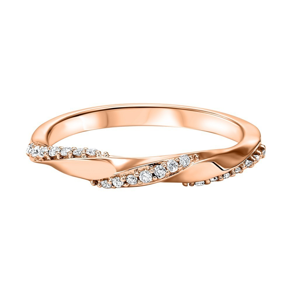 Stackable Twisting Diamond Band In 10K Rose Gold (1/8 Ct. Tw.)