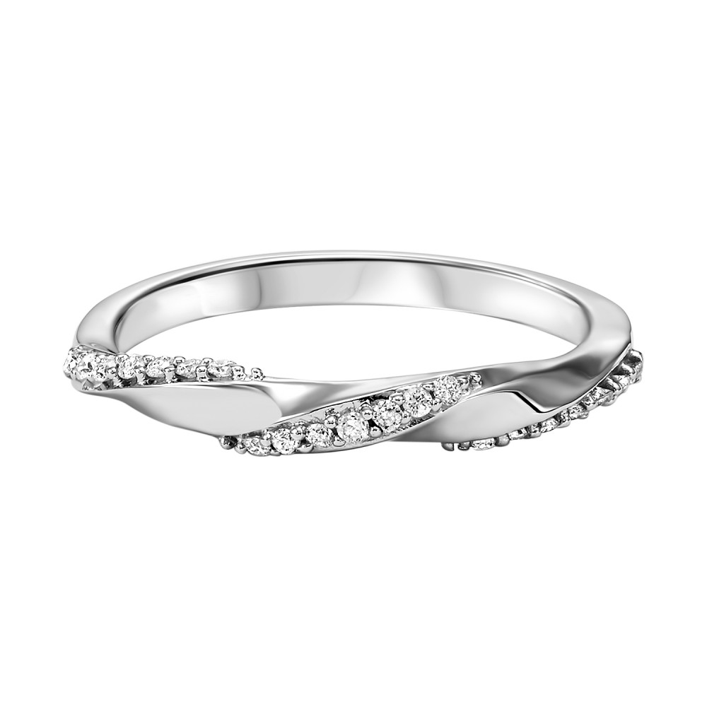 Stackable Twisting Diamond Band In 10K White Gold (1/8 Ct. Tw.)