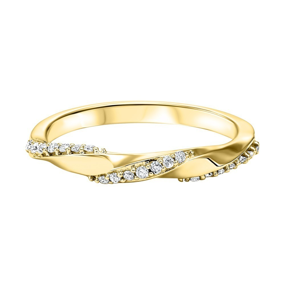 Stackable Twisting Diamond Band In 10K Yellow Gold (1/8 Ct. Tw.)