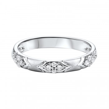 10K White Gold Stackable Prong Diamond Band (1/8 Ct. Tw.)