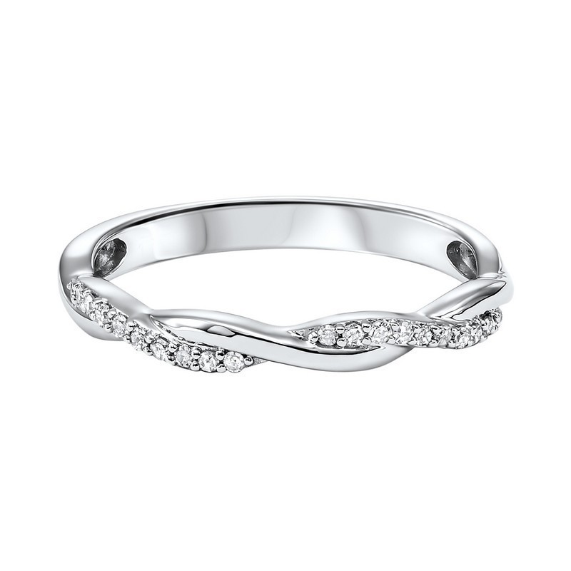 10K White Gold Stackable Prong Diamond Band (1/10 Ct. Tw.)