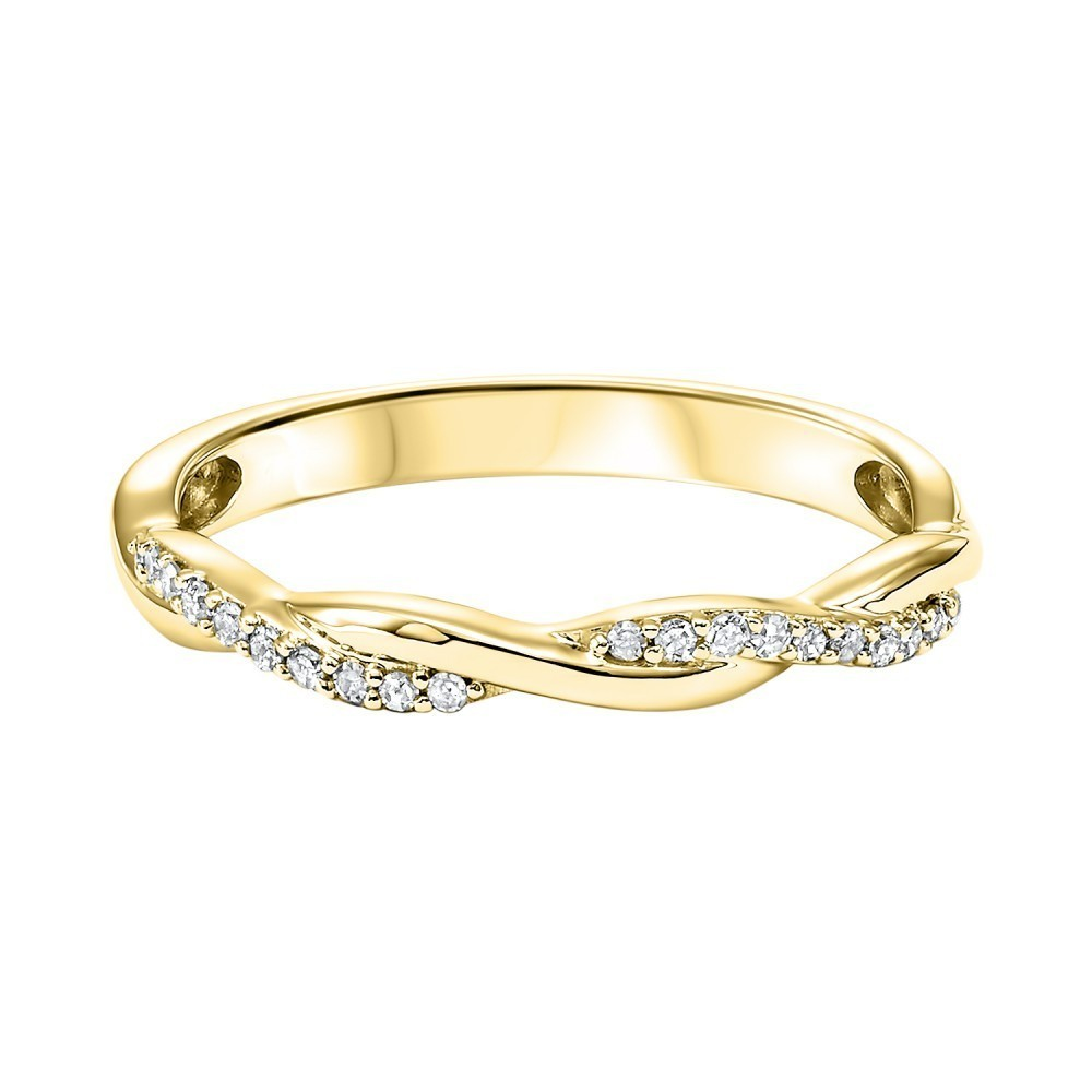 10K Yellow Gold Stackable Prong Diamond Band (1/10 Ct. Tw.)
