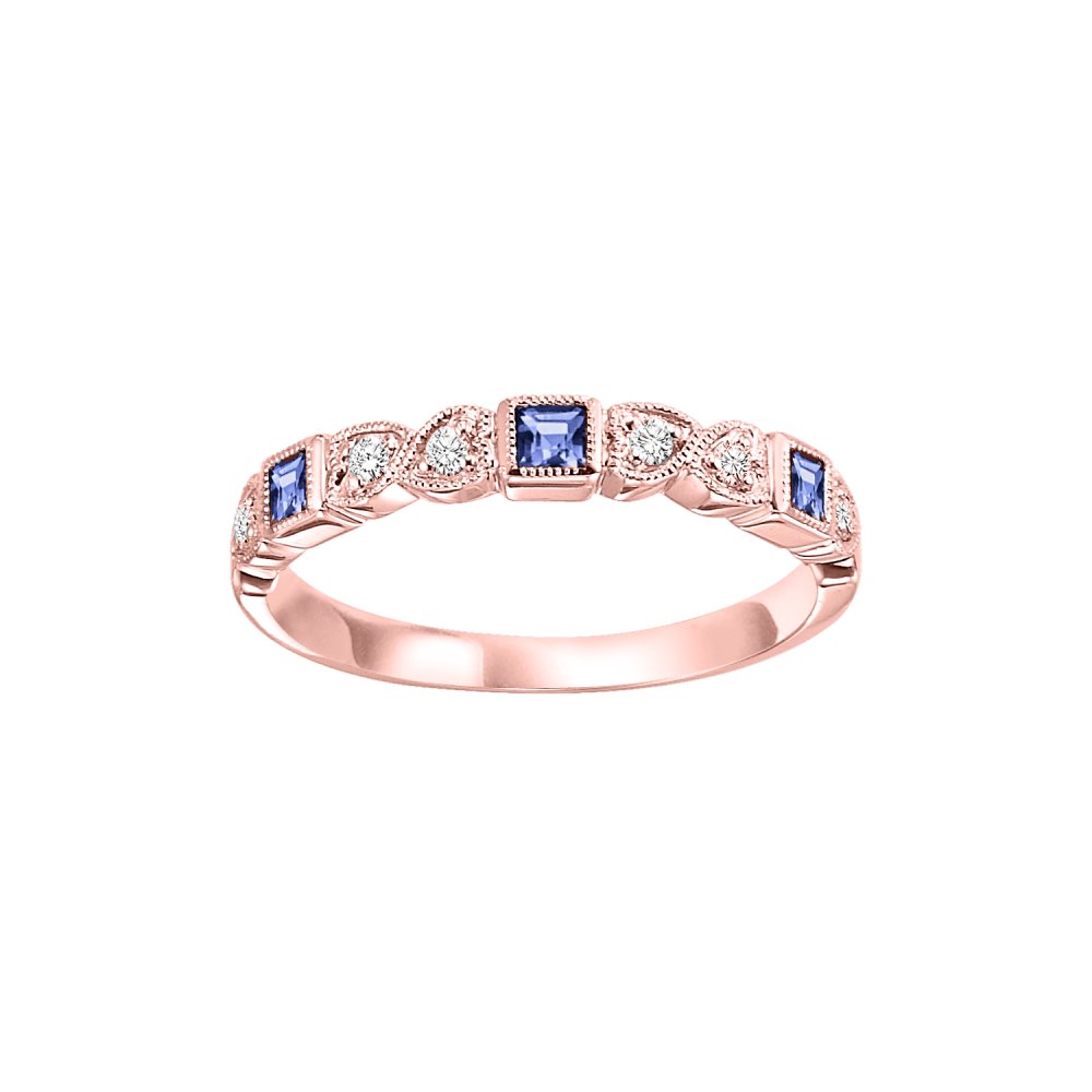 14K Rose Gold Stackable Bezel Sapphire Band (1/10 Ct. Tw.)