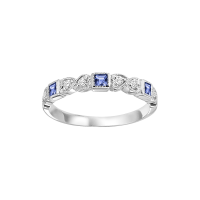 14K White Gold Stackable Bezel Sapphire Band (1/10 Ct. Tw.)