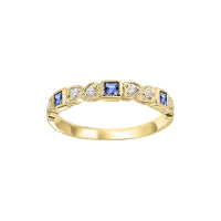 14K Yellow Gold Stackable Bezel Sapphire Band (1/10 Ct. Tw.)