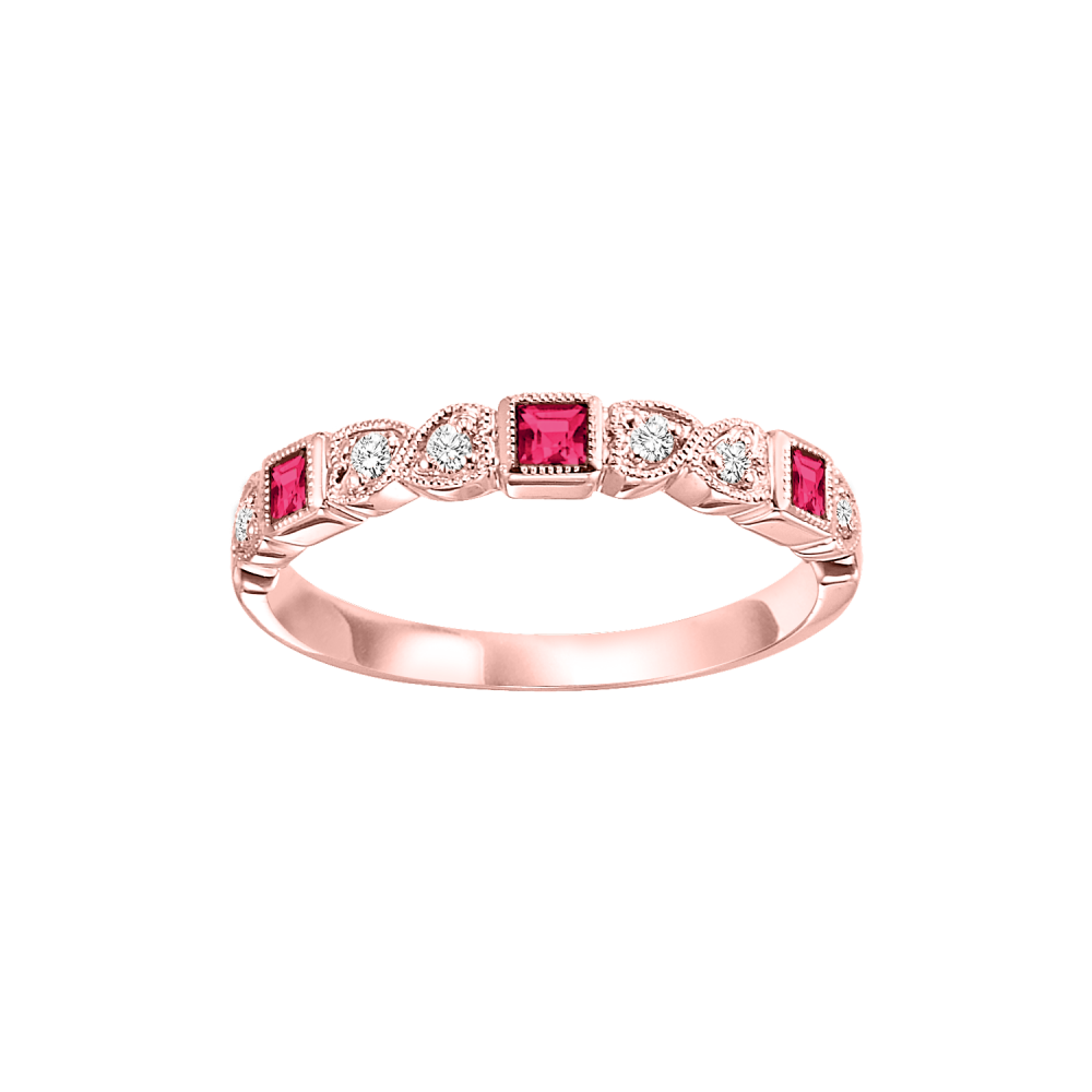 14K Rose Gold Stackable Bezel Ruby Band (1/12 Ct. Tw.)