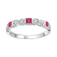 14K White Gold Stackable Bezel Ruby Band (1/12 Ct. Tw.)