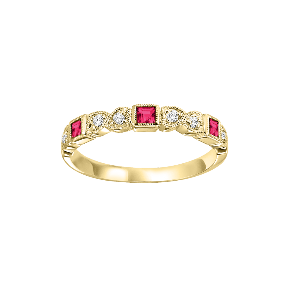 14K Yellow Gold Stackable Bezel Ruby Band (1/12 Ct. Tw.)