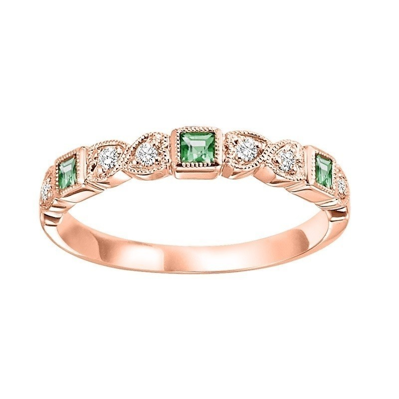 14K Rose Gold Stackable Bezel Emerald Band (1/12 Ct. Tw.)