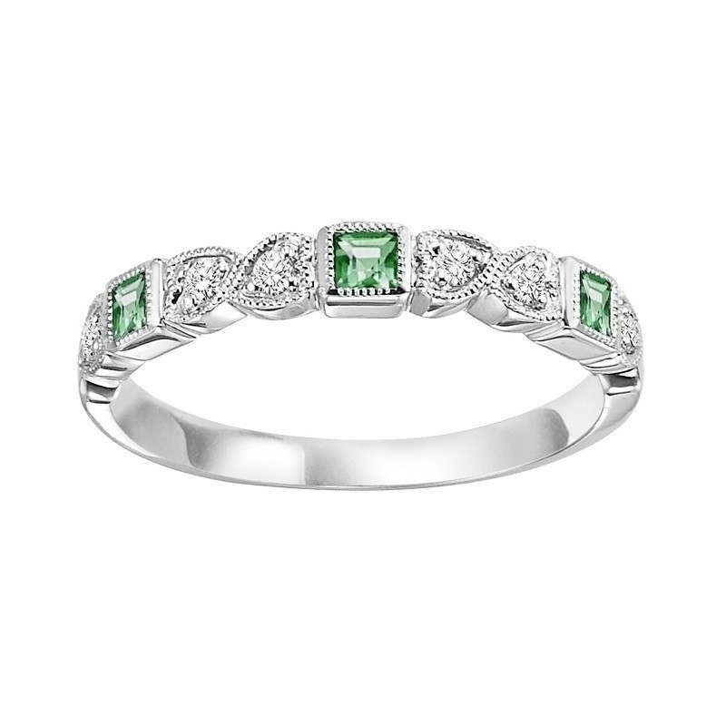 14K White Gold Stackable Bezel Emerald Band (1/12 Ct. Tw.)
