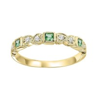 14K Yellow Gold Stackable Bezel Emerald Band (1/12 Ct. Tw.)