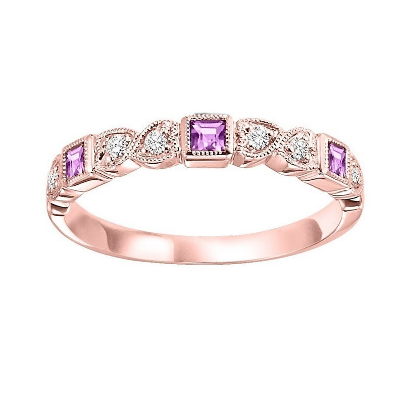 14K Rose Gold Stackable Bezel Pink Sapphire Band (1/10 Ct. Tw.)