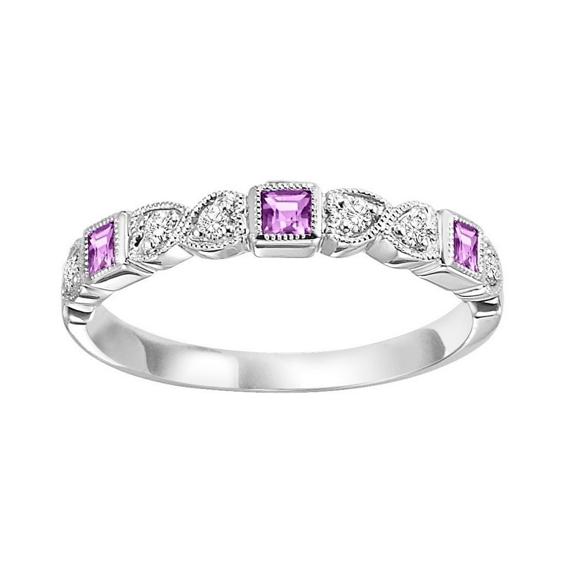 14K White Gold Stackable Bezel Pink Sapphire Band (1/10 Ct. Tw.)