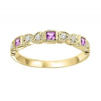 14K Yellow Gold Stackable Bezel Pink Sapphire Band (1/10 Ct. Tw.)