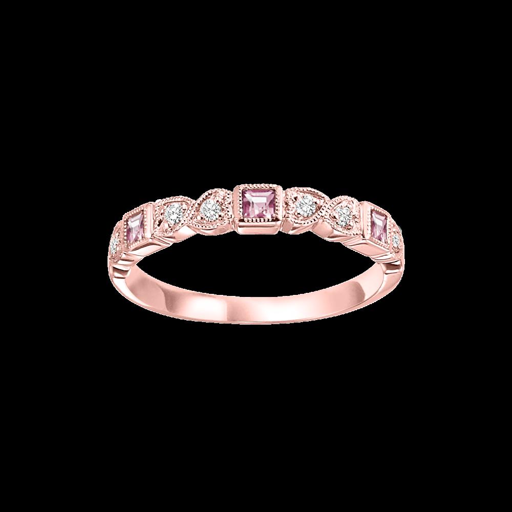 14K Rose Gold Stackable Bezel Pink Tourmaline Band (1/12 Ct. Tw.)