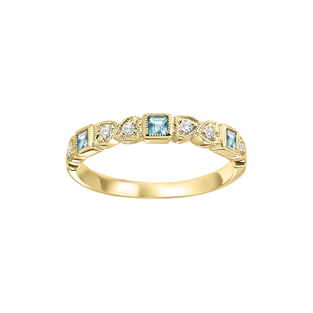 14K Yellow Gold Stackable Bezel Blue Topaz Band (1/12 Ct. Tw.)