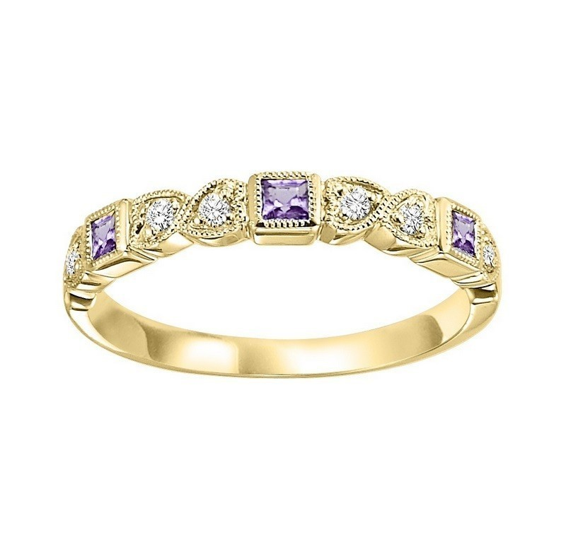 14K Yellow Gold Stackable Bezel Amethyst Band (1/10 Ct. Tw.)
