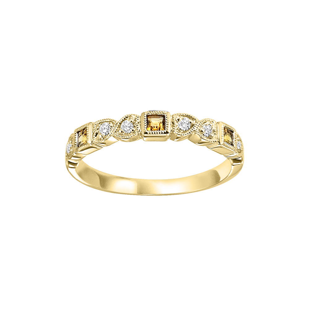 14K Yellow Gold Stackable Bezel Citrine Band (1/10 Ct. Tw.)