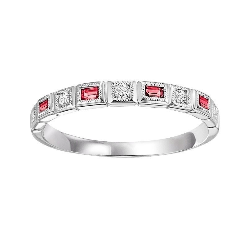 14K White Gold Stackable Bezel Ruby Band (1/10 Ct. Tw.)
