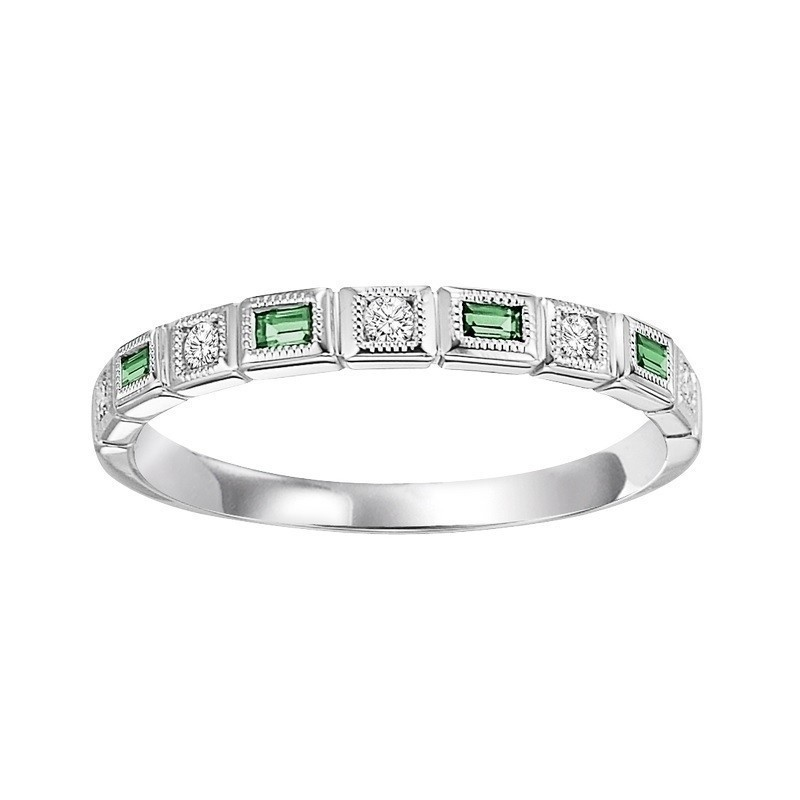 14K White Gold Stackable Bezel Emerald Band (1/10 Ct. Tw.)