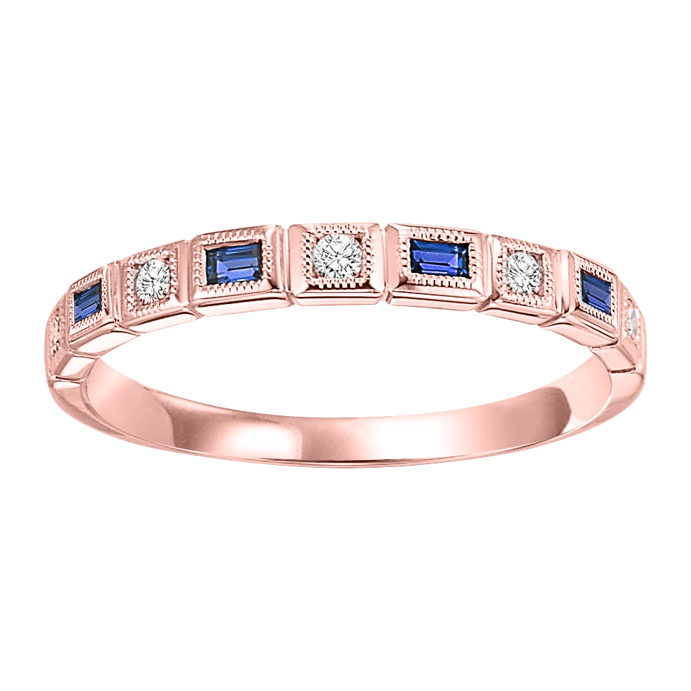 14K Rose Gold Stackable Bezel Sapphire Band (1/12 Ct. Tw.)