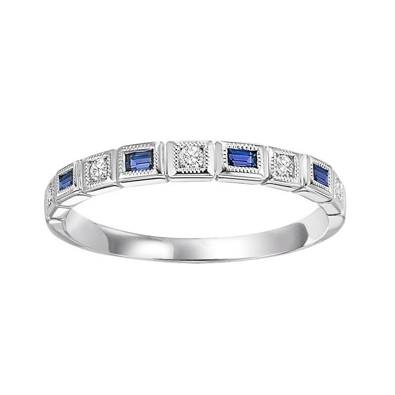 14K White Gold Stackable Bezel Sapphire Band (1/12 Ct. Tw.)