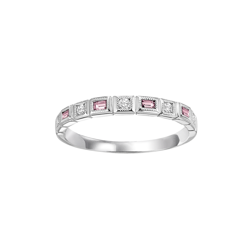 14K White Gold Stackable Bezel Pink Tourmaline Band (1/12 Ct. Tw.)
