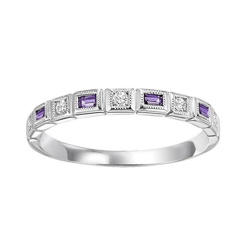 14K White Gold Stackable Bezel Amethyst Band (1/12 Ct. Tw.)