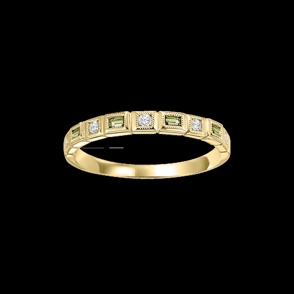 14K Yellow Gold Stackable Bezel Peridot Band (1/12 Ct. Tw.)