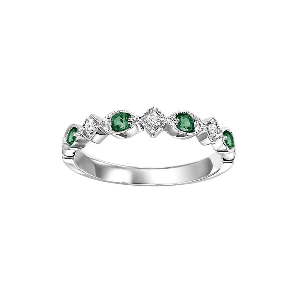 14K White Gold Stackable Prong Emerald Band (1/20 Ct. Tw.)
