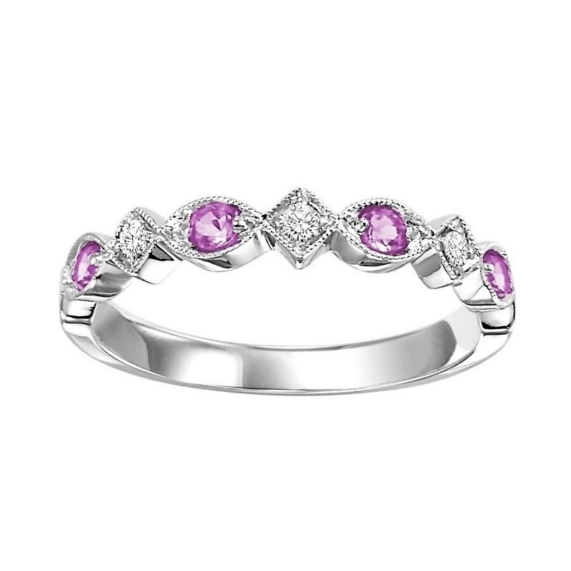 14K White Gold Stackable Prong Pink Sapphire Band (1/20 Ct. Tw.)