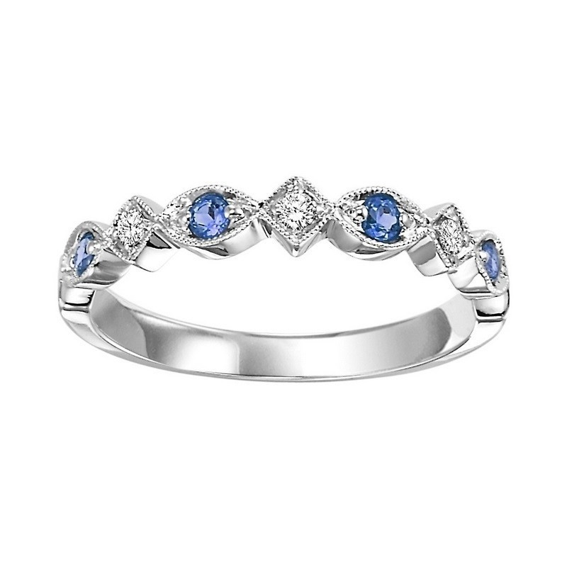 14K White Gold Stackable Prong Sapphire Band (1/20 Ct. Tw.)