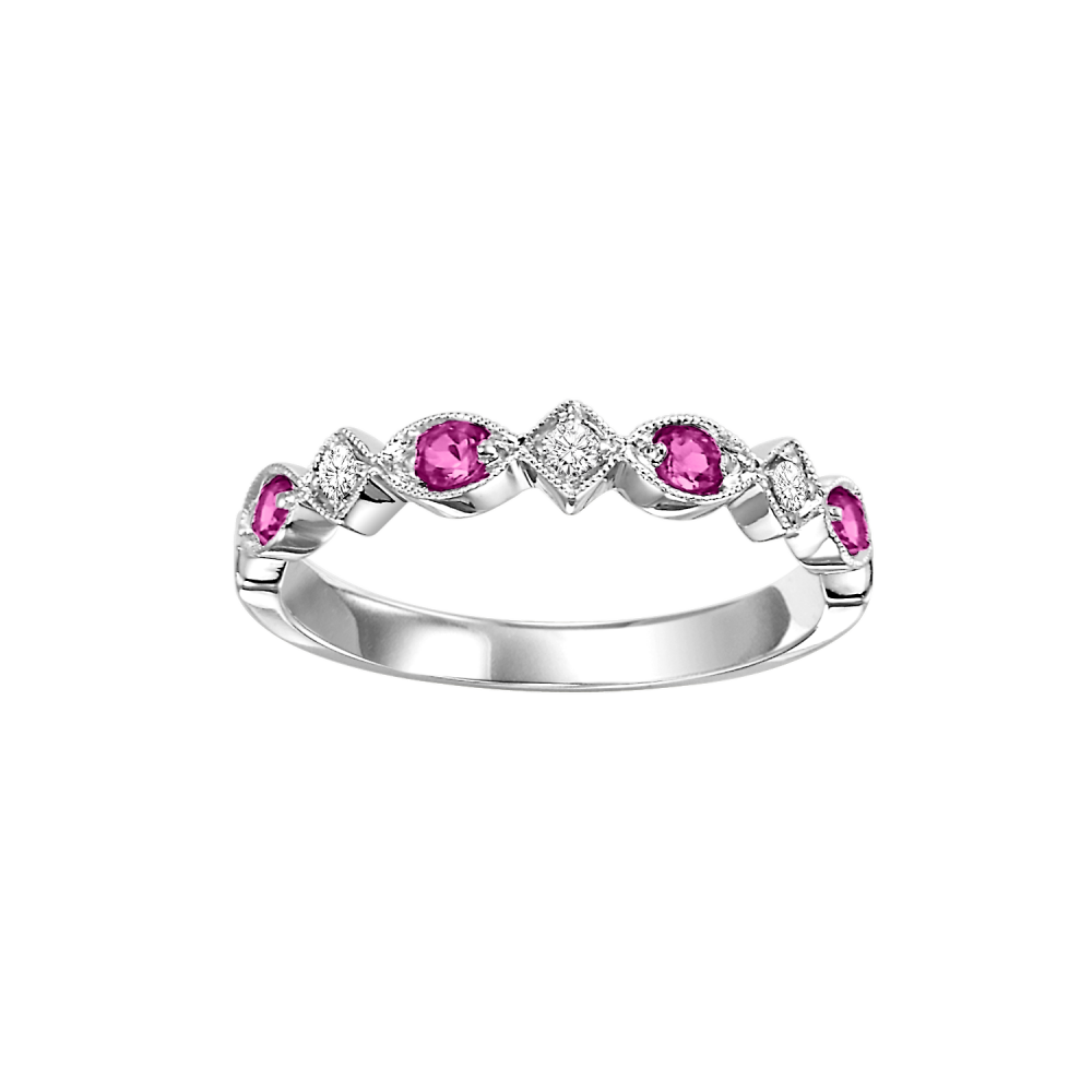 14K White Gold Stackable Prong Ruby Band (1/20 Ct. Tw.)