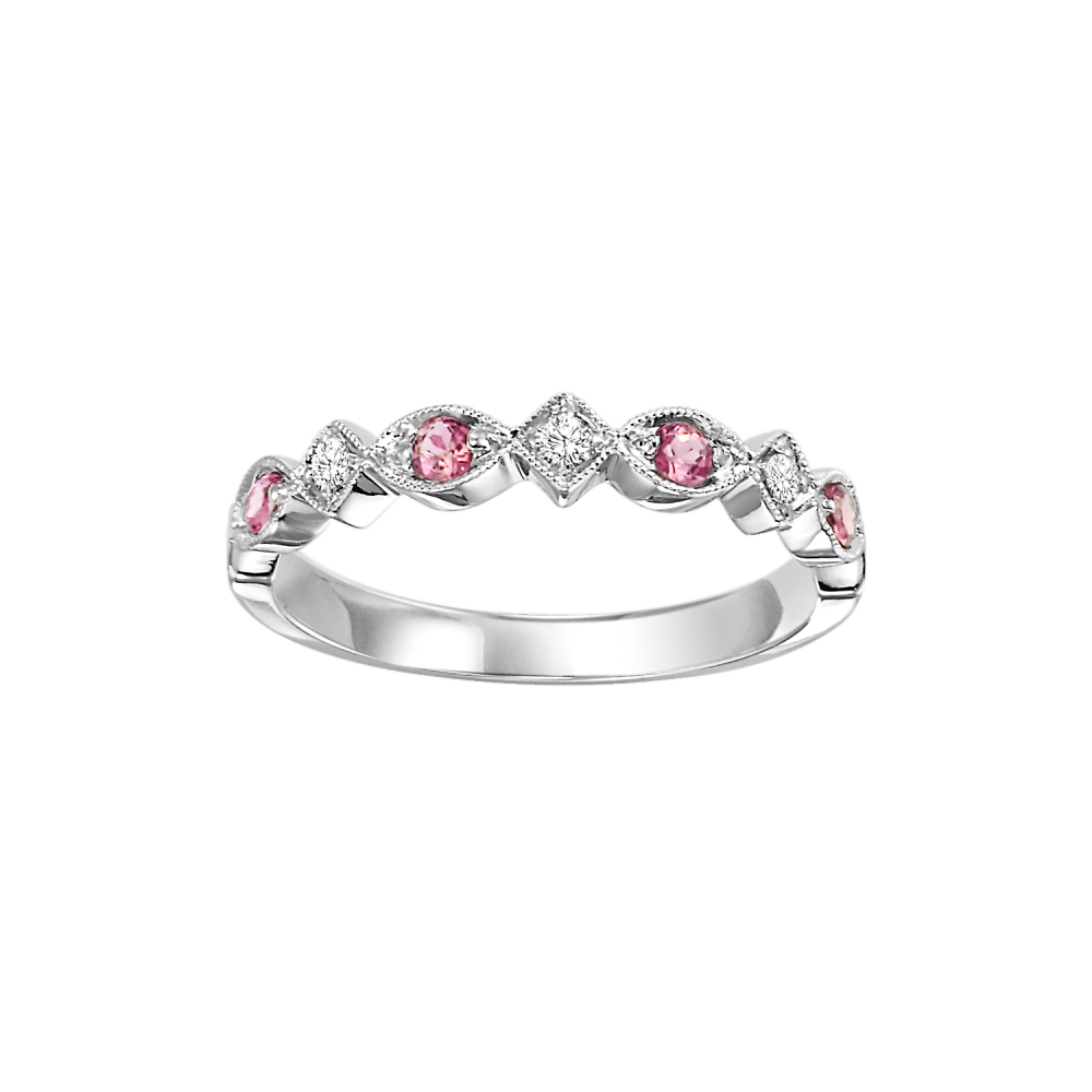 14K White Gold Stackable Prong Pink Tourmaline Band (1/20 Ct. Tw.)