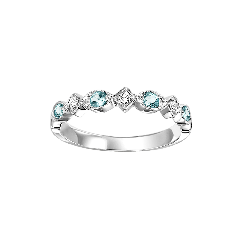 14K White Gold Stackable Prong Blue Topaz Band (1/25 Ct. Tw.)