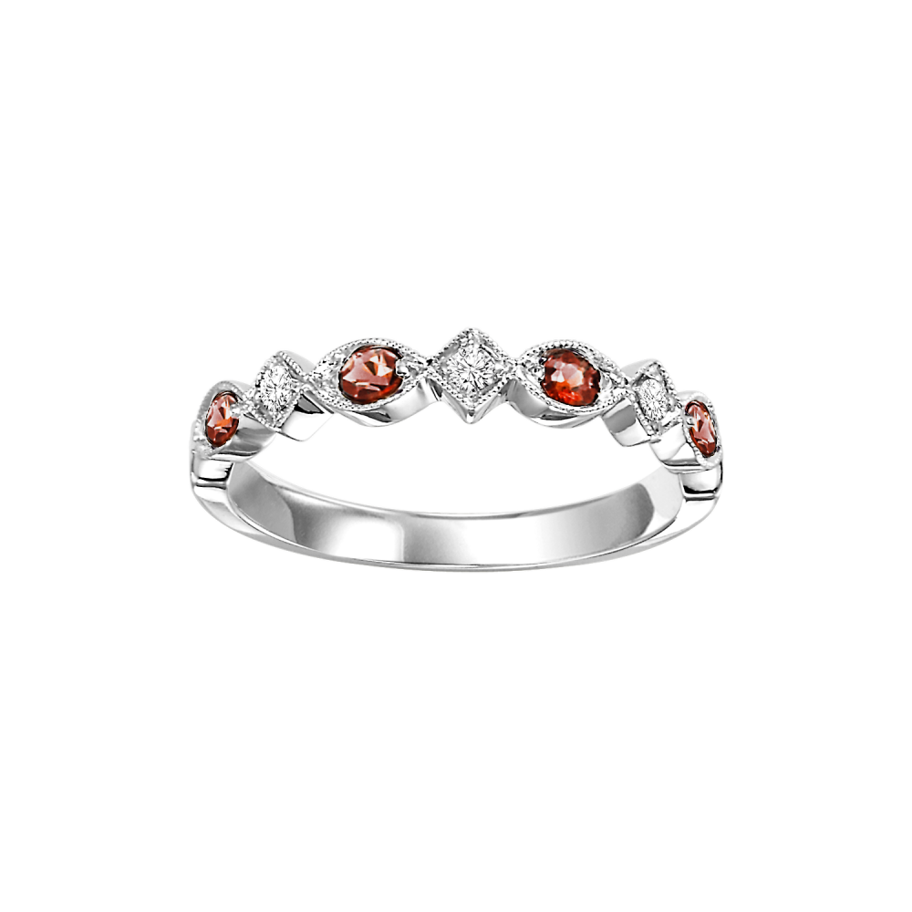 14K White Gold Stackable Prong Garnet Band (1/20 Ct. Tw.)