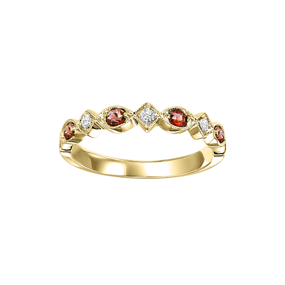 14K Yellow Gold Stackable Prong Garnet Band (1/20 Ct. Tw.)