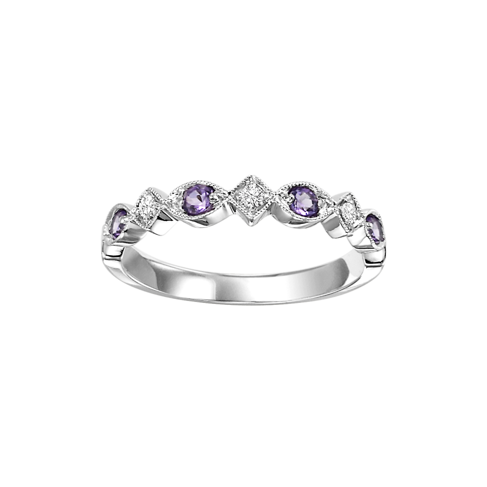 14K White Gold Stackable Prong Amethyst Band (1/20 Ct. Tw.)