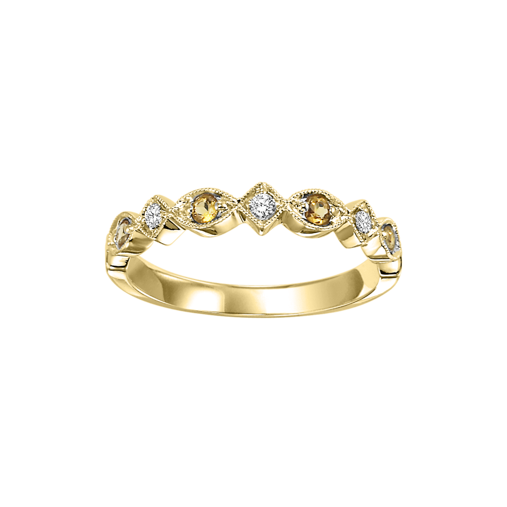 14K Yellow Gold Stackable Prong Citrine Band (1/20 Ct. Tw.)
