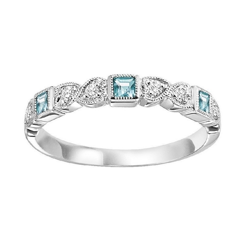 14K White Gold Stackable Prong Aquamarine Band (1/20 Ct. Tw.)