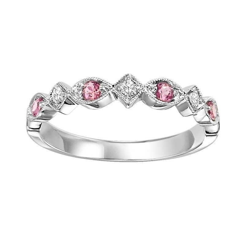 14K White Gold Stackable Prong Alexandrite Band (1/20 Ct. Tw.)