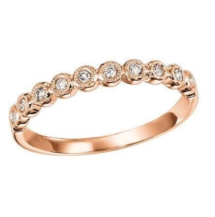 14K Rose Gold Stackable Bezel Diamond Band (1/8 Ct. Tw.)