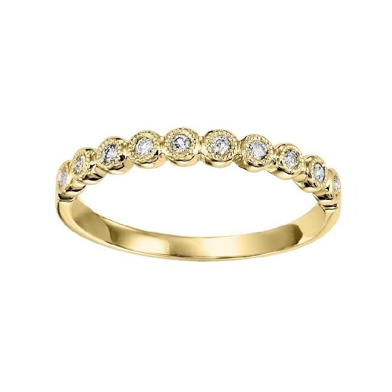 14K Yellow Gold Stackable Bezel Diamond Band (1/8 Ct. Tw.)